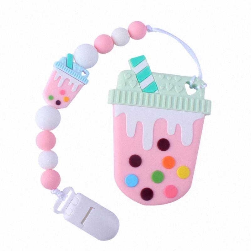 Netter Baby-Schnullerkette Baby-Schnuller Schnullerkette Baby-Beißring Ring Anti-drop-Bügel-Clip (Pink) wCer #