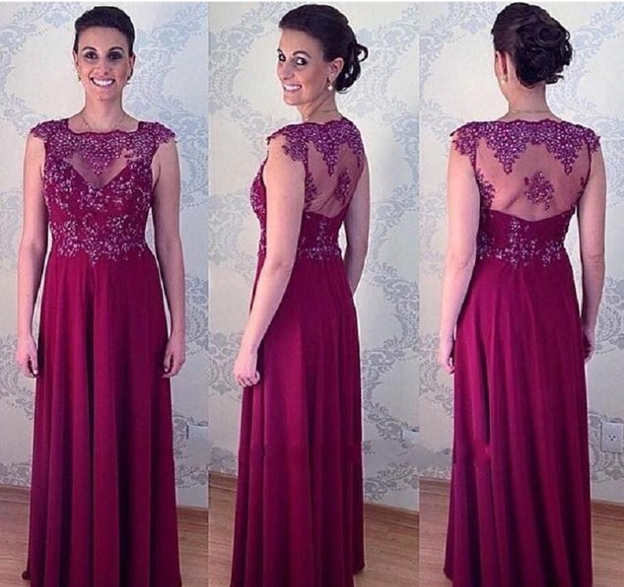 Grape Sheer Mother Of The Bride Dresses Floor Length 2017 Women Groom Evening Party Gowns Vestido Para Mae Da Noiva