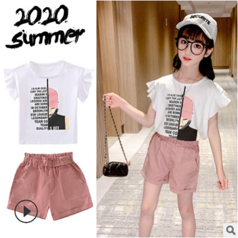 Девушки футболка короткий комплект одежды 2020 новый летний детский досуг одежда наборы Детские наборы 2 печати письмо цвета Size4-14 ly616