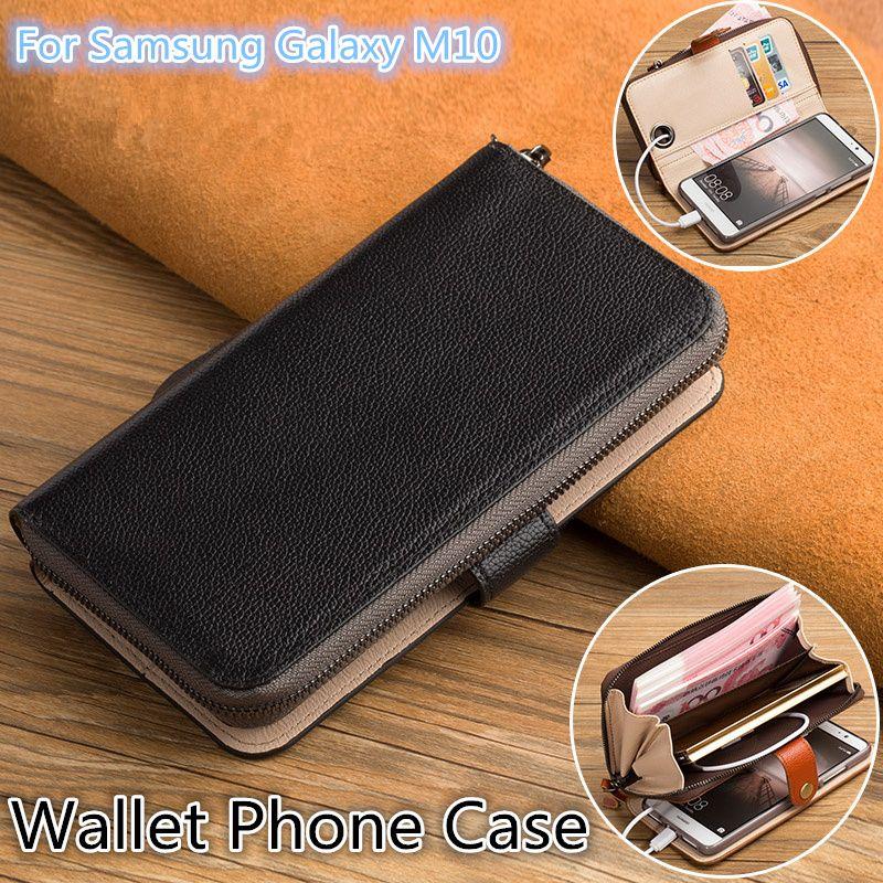 QX06 حقيبة جلد طبيعي متعدد الوظائف للهاتف Samsung Galaxy M10 Wallet Case لهاتف Samsung Galaxy M10 Wallet Phone Case Kickstand