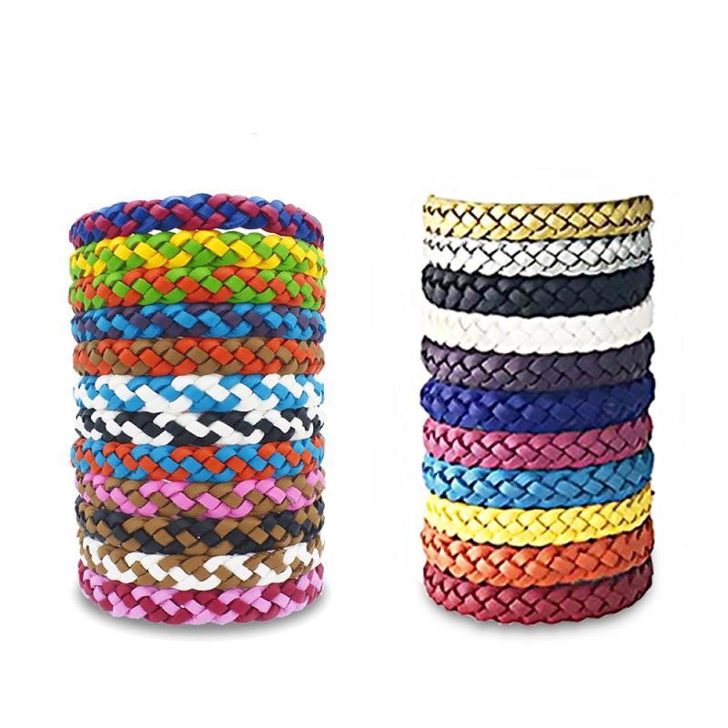 24 Cores Anti Repelente pulseira PU couro tecido pulseira Repelente anti-mosquito pulseira M2031