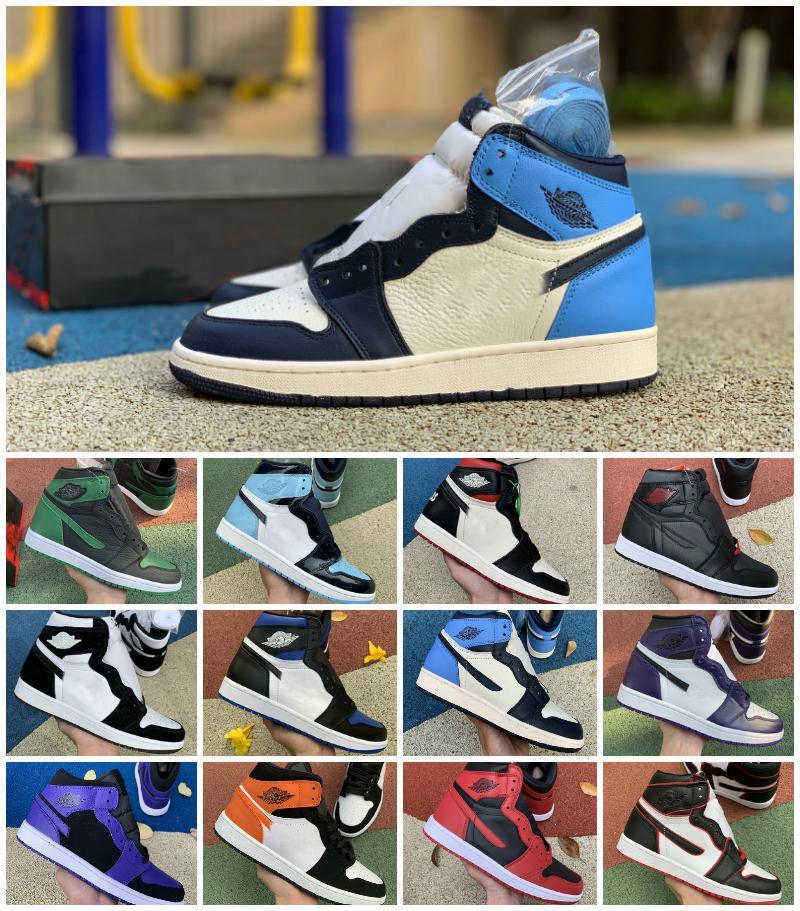 Zapatos de baloncesto a 1s OG alta Pino Verde Negro Corte real púrpura del dedo del pie Bred NC Obsidiana UNC juego entrenadores Chaussure las zapatillas de deporte