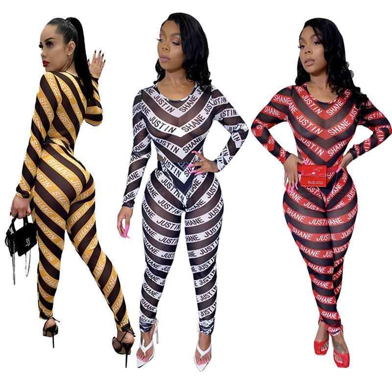 Tracksuits Perspective Long Sleeve Letters Womens 2Pcs Set Fashion Casual Womens Apparel Striped Print Womens
