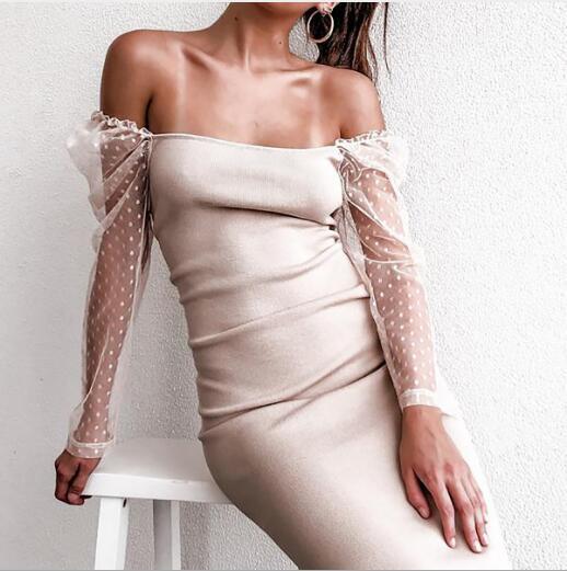 2020 spalla Nuovo vestito caldo francese Donne Split maglia maniche skirt cuciture vestito lavorato a maglia delle donne Abiti casual