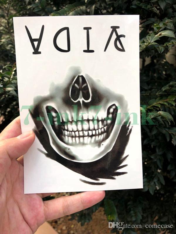 erkekler kadınlar için su geçirmez Geçici dövme çıkartma El Boyalı Serin Koyu kafatası yüz mektup Su Transferi sahte dövme flaş tatto