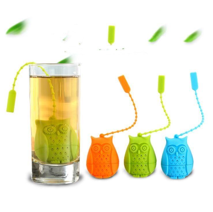 Silicona búho herramientas de té colador bolsas lindas de grado alimenticio creativo holgado-hoja infusor filtro difusor diversión accesorios lxl870q