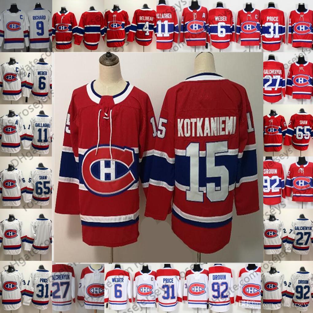 몬트리올 Canadiens 4 진 Beliveau 9 모리스 리차드 15 Jesperi Kotkaniemi 레드 화이트 100 번째 클래식 은퇴 선수 남자 아이 청소년 유소년