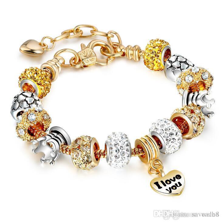19 styles Gold Color Charm Bracelet with Heart Pendant & Gold Crystal Beads Bracelet 19+3cm