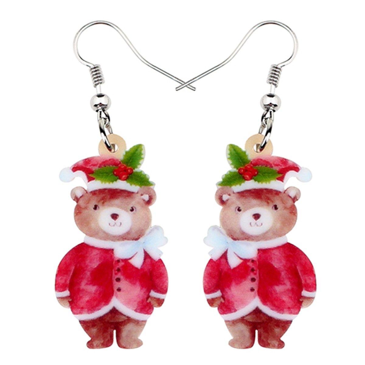 Acrílico Dulce Navidad Trajes de joyería Sombrero oso Pendientes de gota manera cuelga Festival de venta caliente del regalo para las mujeres adolescentes