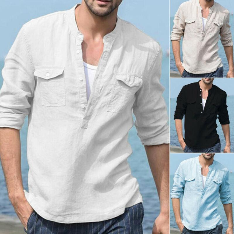 Long Sleeve Shirts for Men Solid Cotton Linen Shirt Casual Fashion Button Tops