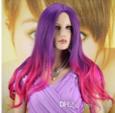 Perücke geben Verschiffen Frauen lange hitzebeständige Perücke lockige wellenförmige purpurrote und rosafarbene Haar Cosplay Partei-volle Perücken frei