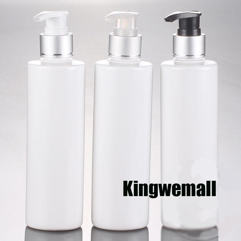 300pcs / lot gros 250ml bouteilles vides en plastique blanc avec conteneur pompe lotion en aluminium d'argent, Emballages cosmétiques