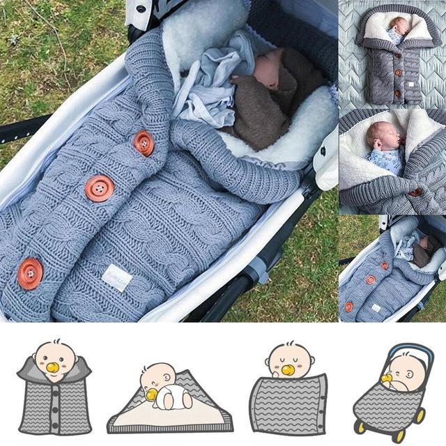 Aqueça Baby Sleeping Bag Envelope Inverno Kid SleepSack footmuff Stroller malha do sono Sack recém-nascido malha de lã Swaddling Blanket