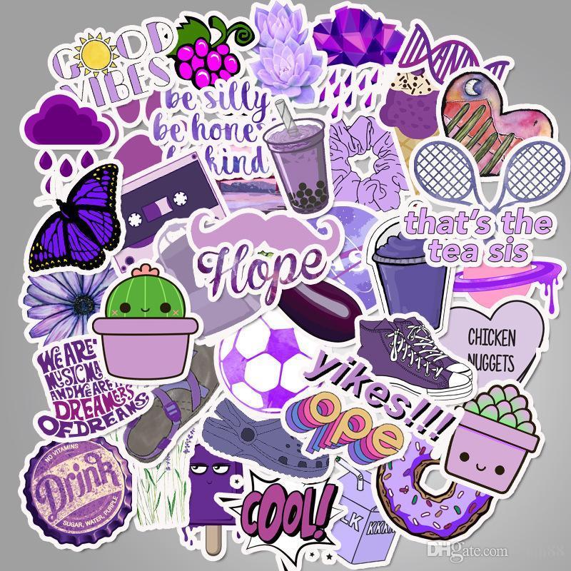 Cartoon small fresh purple suitcase sticker waterproof doodle guitar sticker