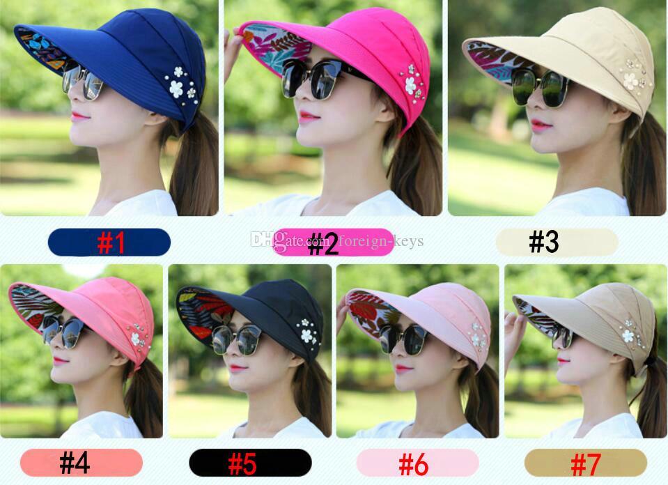 sombrero del verano del ocio de las mujeres al por mayor, que dobla el sombrero del sol a prueba de sol y gorra para el sol-shading del envío 5pcs / lot.