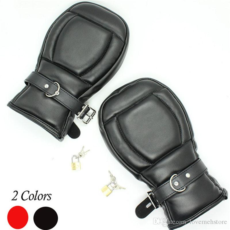 BDSM Bondage Fetish Paddle Mittens Lockable Gloves Dog Paw Palm Sensory Deprivation Padded Fist Mitts,Pet Role Play Accessories Sex Toys