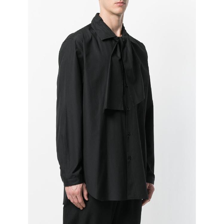 Nouvelle personnalité marée chemise coiffeur écharpe chemise hommes mi-longueur hommes chemises rétro simple automne lâche manches longues