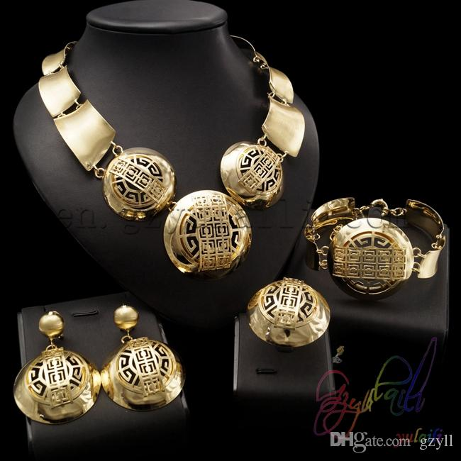 Yulaili High Quality Factory Customized Gold Filled Cubic Zircon Engagement Costume Round Design Ladies Big Jewelry Sets