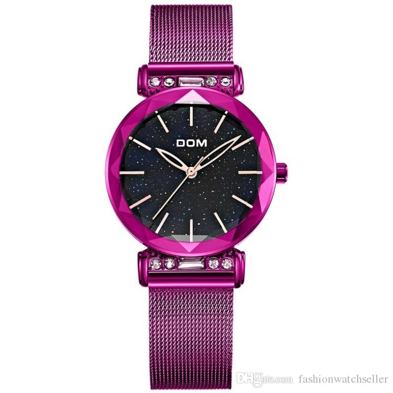 Hot Fashion Women Watches Dom Crystal Ladies Wristwatches Coated Glass Surface Gold Black Purle Color Quartz Watch Wholesale