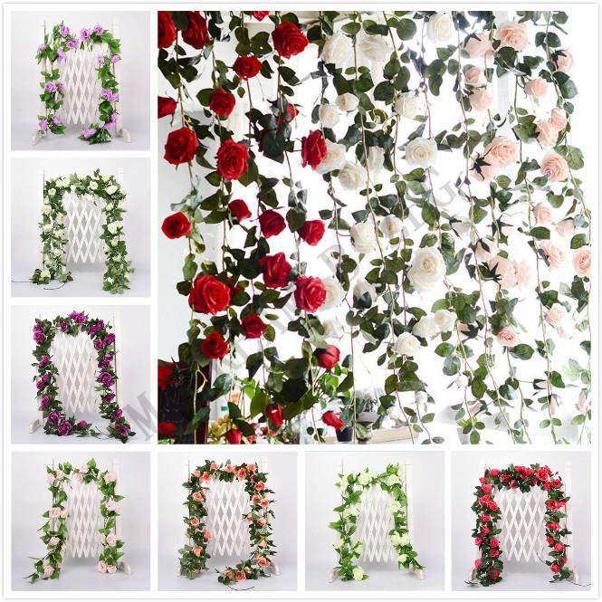 2.2m de la flor artificial de la vid falsa Rose de seda de flores para la decoración de la hiedra vides colgante artificial Garland Decoración