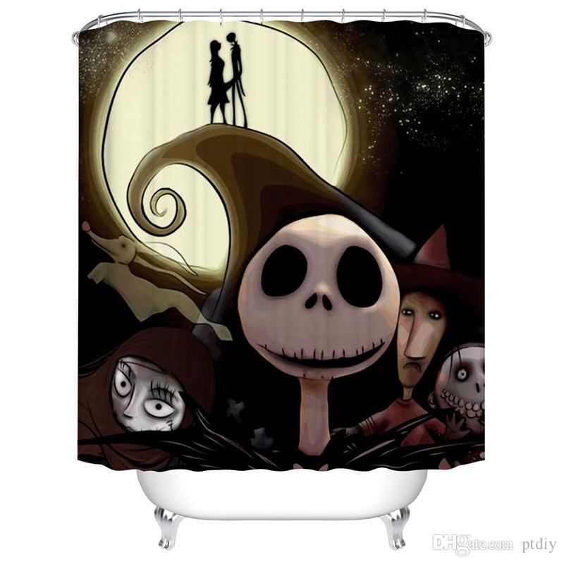 2019 Bartori Bathroom Decor Shower Curtain The Nightmare Before Christmas Them Jack Skellington And Sally In Fornt Of The Moon Waterproof From Ptdiy