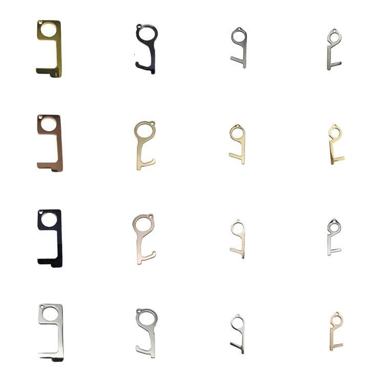 A et B de style Ouvre-porte de sécurité en métal Touchless Stylus métal crochet clé mains porte sans poignée Ouvre outils porte-clés ascenseur T2I51040