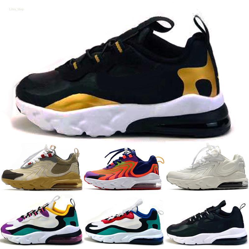 Nike air max 270 React 2020 Bauhaus 27C TD Çocuk Ayakkabı Boy Kız Ayakkabı Siyah Beyaz Hiper Parlak Mor Bebek Çocuk Sneakers 28-35 Koşu React