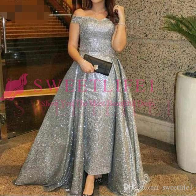 2019 Silver Sequined Evening Dress Overskirt Plus Size Kaftan Off Shoulder Capped Sleeveless Prom Gowns Mother Of The Bride Dress