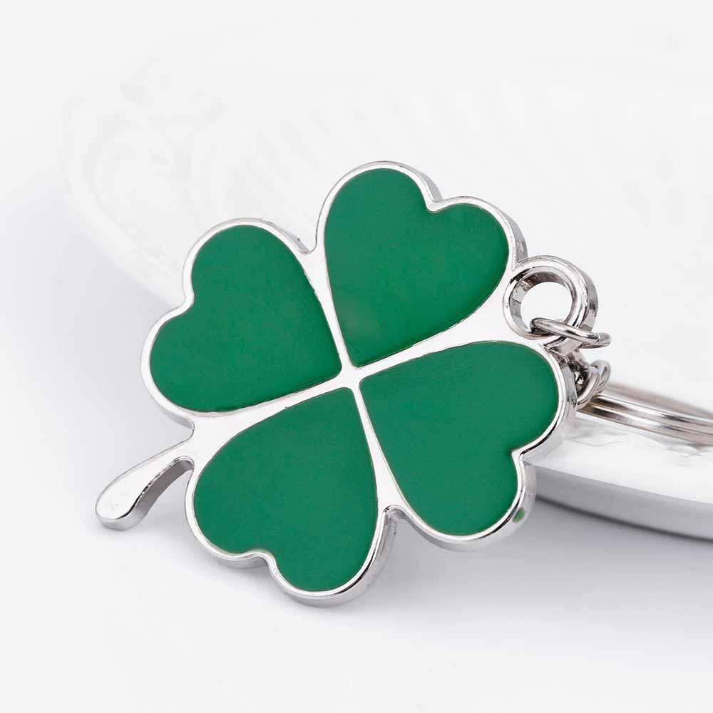 KISSWIFE inoxydable de haute qualité feuille verte Keychain mode créatif Belle Trèfle à quatre feuilles en acier chanceux clé bijoux de la chaîne