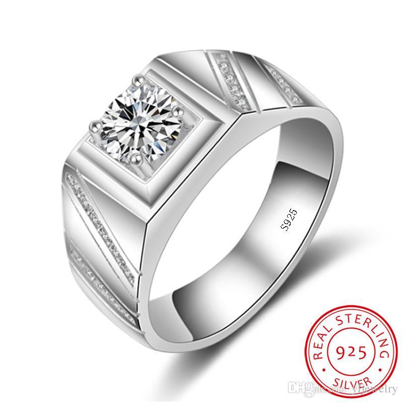 Original Genuine 925 Silver Rings For Men Set 6mm Zirconia Wedding Rings Band 1 Ct CZ Diamond Engagement Ring Fine Jewelry M006