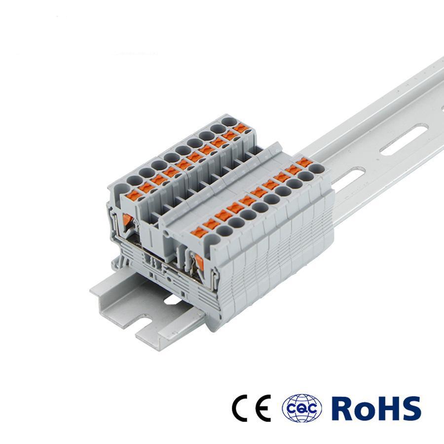 DIN ray terminal blokları Bahar vidasız elektrik terminal bloğu konnektörü PT2.5 tel iletkeni itin