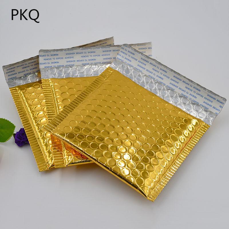 100 teile / los 15 * 13 cm kleine goldaluminierte folie metallic luftblasenversand luftblase gepolsterte umschläge gold geschenkverpackungsbeutel