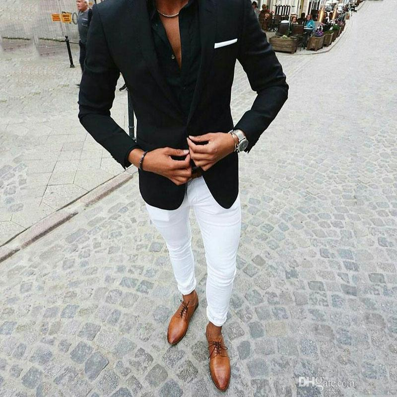 Custom Made Black Suits for Business Man Outfits Wedding Tuxedo White Pants Groom Wear Costume Homme Two Piece Slim Fit Terno Masculino