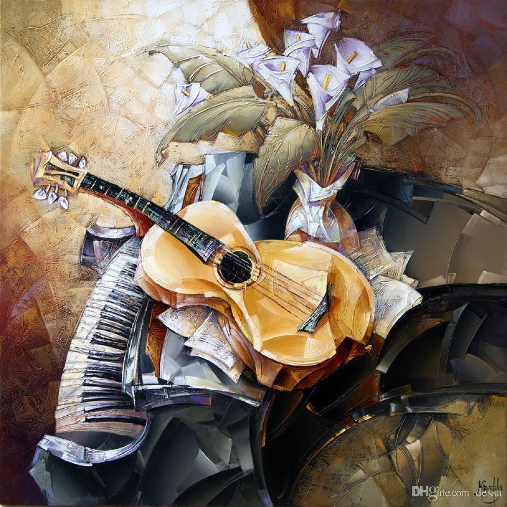 Still life oil paintings abstract art Guitar Piano Duet modern picture Handmade wall decor