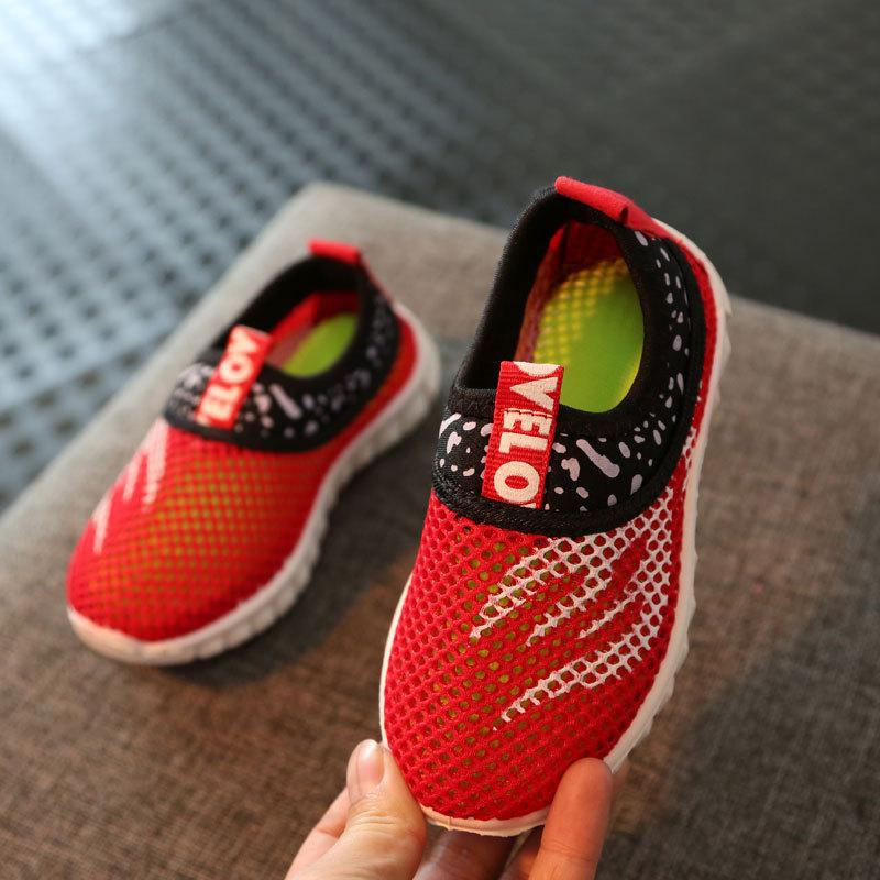 2019 Kids School Shoes For Girls Spring Summer Sneakers Boys Running Sports Shoes Air Mesh Pink Black Blue Green For 2-16y Y19051602