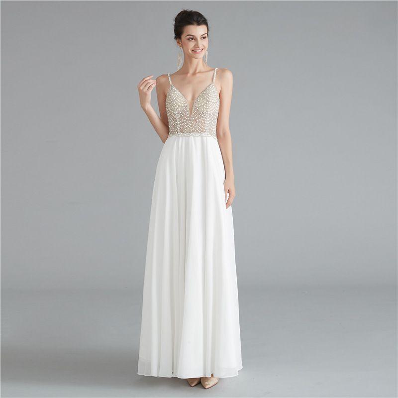 2020 império vestido de casamento branco Sparkly Baguetes Pérolas ilusão até o chão Garden Beach Party Dress Wedding Simples Sexy Vestidos de casamento New