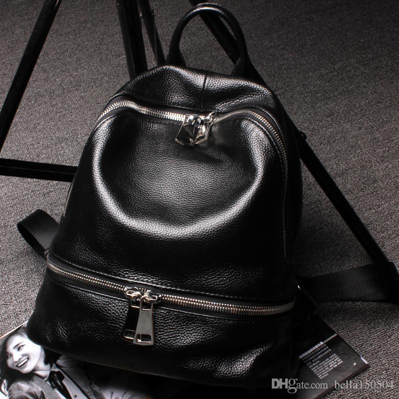 QUALIDADE SUPERIOR estilo Europeu mochila de luxo designer de couro Genuíno multi-bolso pacote mochilas unisex bolsas populares saco de viagem