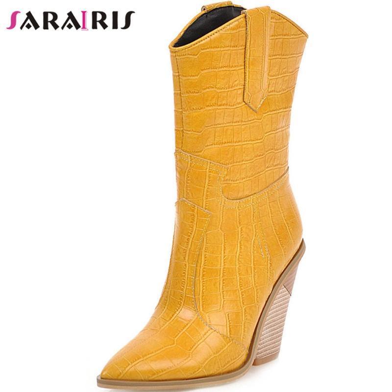 SARAIRIS Female Fashion Party Straße Spitzschuh zur Mitte der Wade Stiefel Hohe Chunky Heels Stiefel Damen Schuhe Damen