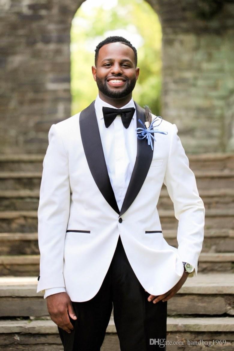 Yeni Gelenler Bir Düğme Beyaz Damat smokin Şal Yaka Groomsmen Sağdıç Blazer Erkek Düğün Suit (Ceket + Pantolon + Kravat) D: 85