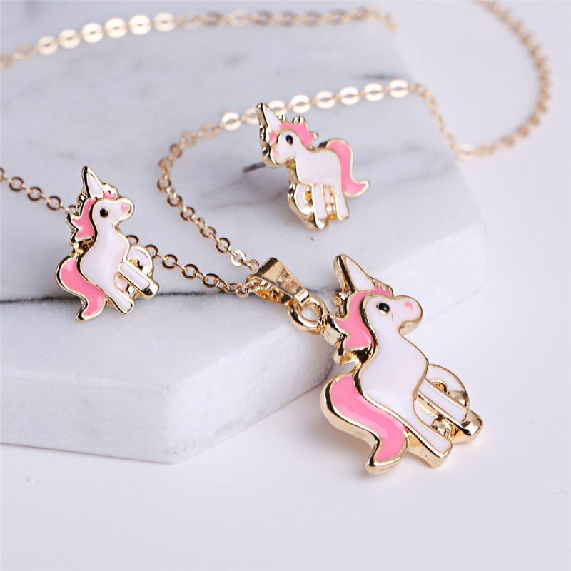 Nuevo Pink Animal Jewelry Set Chain Kids Jewelry Cartoon Horse Unicorn Necklace Earring Jewelry Sets para niñas