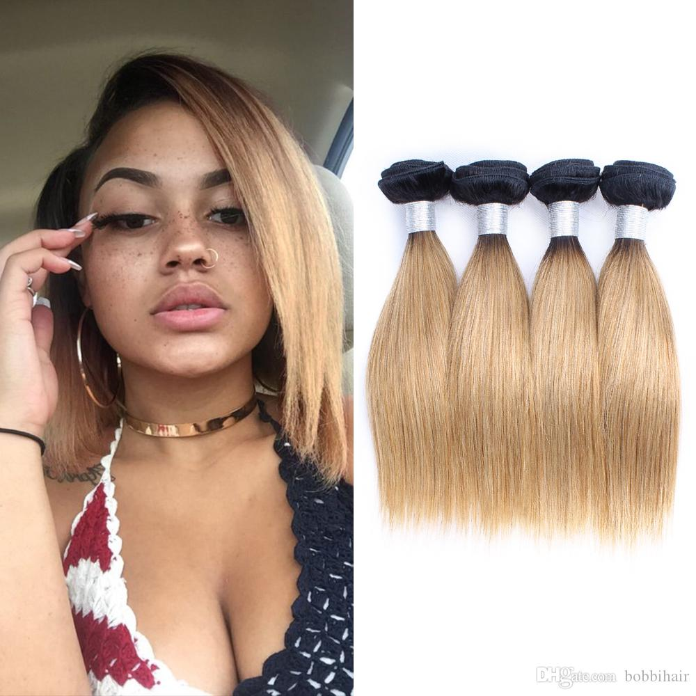 Ombre Blonde Human Hair Bundles Brazilian Straight Hair Short Bob 50g/bundle 10 12 14 Inch 4 Bundles/set Natural Remy Hair Extensions