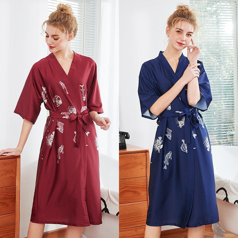 Frauen Seide Sexy Kimono Bademantel Knielangen Brautjungfer Fisch Knochen Satin Bademantel Rot Braut Morgenmantel Für Hochzeit Nachtwäsche T200420