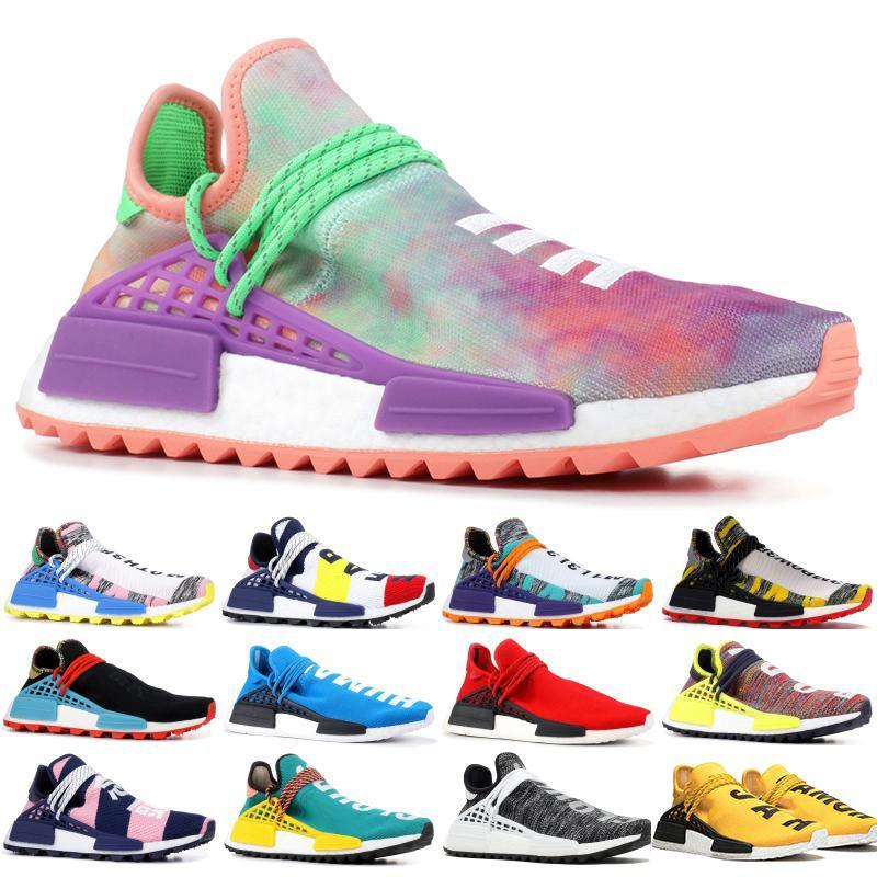 2019 رخيصة NMD الإنسان سباق فاريل وليامز الرجال المرأة ماك التعادل صبغ حزمة الشمسية الأم مصمم الأزياء رياضة الجري أحذية مع مربع