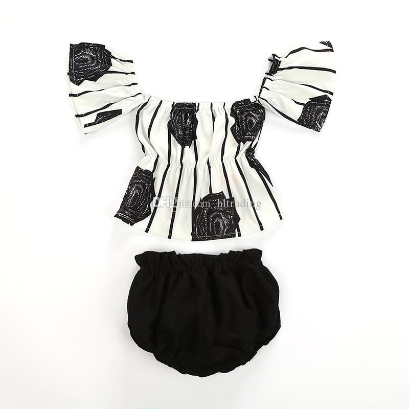 아기 소녀 어깨 의상에서 벗어나기 꽃 줄무늬 프린트상의 + 부머 팬츠 2pcs / 2019 여름 패션 의류 세트 C6246
