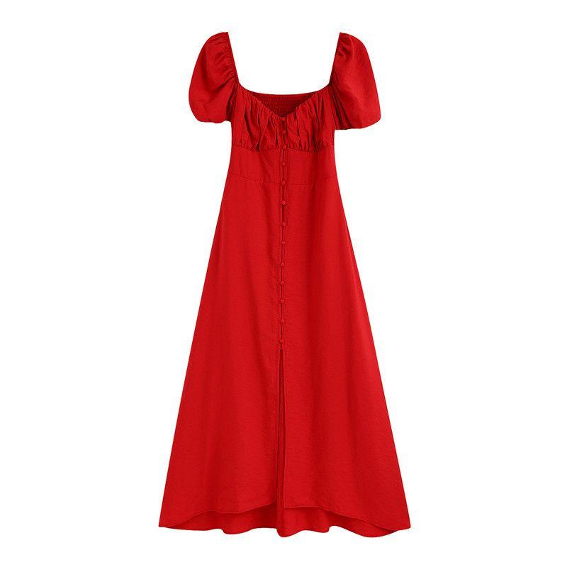 breasted-Single estilo elegante Mediodía vestido de las mujeres Puff mangas Partido Colorado vestidos de mujer elásticos Volver Vestido Vestidos Mujer