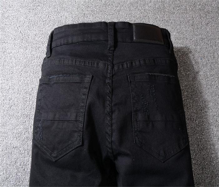 Menss Jeans Delik Patch Splice İnce Moda Marka Delik Denim Pantolon Ripped Sıkıntılı İnce Kalem Pantolon Motosiklet Pantolon