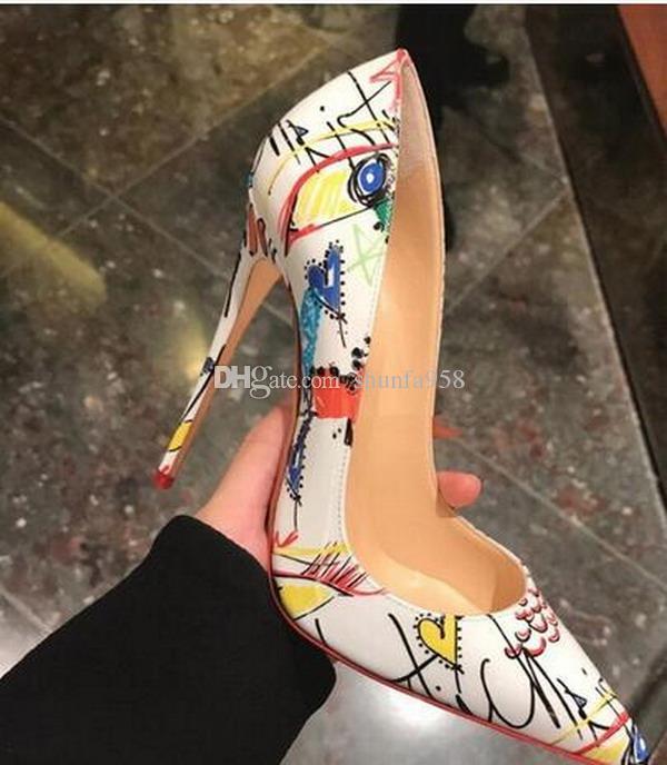 HEIßER Marke Frauen Rote Untere Kleid Schuhe Frau Spitz Sohle Flacher Mund Pumpt 8 cm 10 cm High Heels Hochzeit Schuhe größe 33-44