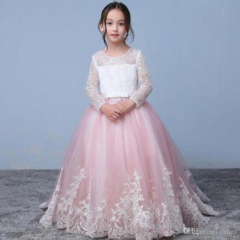Pink Lace Long Sleeve Flower Girl Dresses 2019 Jewel Hollow Applique Toddler Party Dress For Wedding Girls Pageant Dress