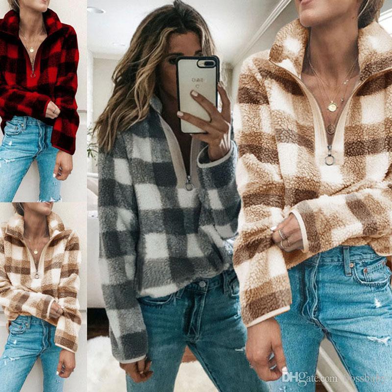 Women Casual Plaid Sweatshirts Autumn Long Sleeve Zipper Hoodies Womens Clothing Lady Winter Tops 07