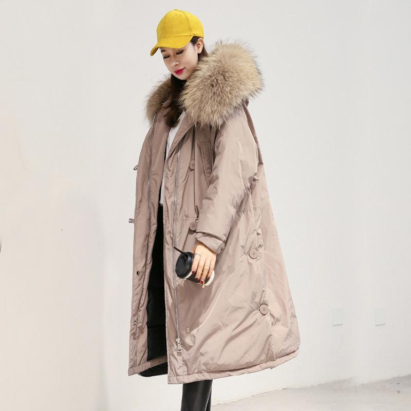Büyük Real Rakun Kürk Kapşonlu 2019 Kadınlar Beyaz Ördek Aşağı ceketler Kadın Kış Ceket Kadınlar T191031 için Gevşek Uzun Sıcak Kalınlaşmak Parkas